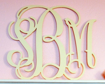 Wooden Monogram- Home Decor-Wedding Monogram-Unpainted- Wall  Art- Wedding- Decoration