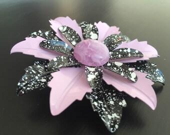 Vintage 1970s lavender and black flower brooch