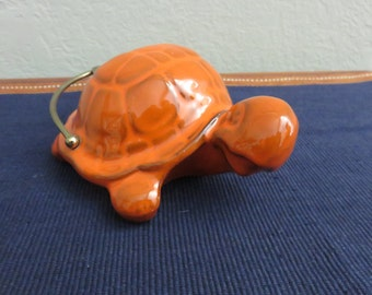 Vintage Orange Turtle Pottery Ashtray With Metal Handle 1950's