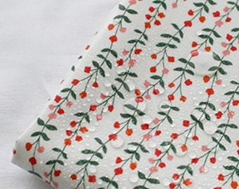"""Laminated cotton fabric by the yard 44"""" wide Cozy Floral White flower laceking2013"""