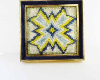 Bargello Needlepoint Cross Stitch Four Point Star with a Radiating Light Yarn Art Vintage Wall Hanging