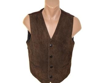 Vintage brown men vest genuine leather suede with belt lining Bordeaux size L