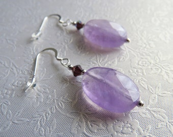 Amethyst Gemstone Faceted Oval Earrings With Swarovski Crystals. Sterling Silver Earwires.