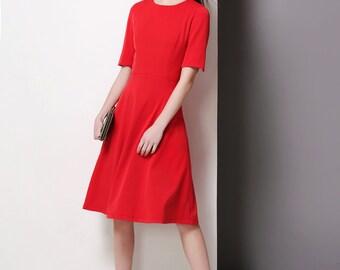 Red Cayla dress/ Kate Middleton/ Dress/ Midi dress/Custom made dress/Swing dress/ 50's dress/ vintage dress inspired/ Wimbleton dress/