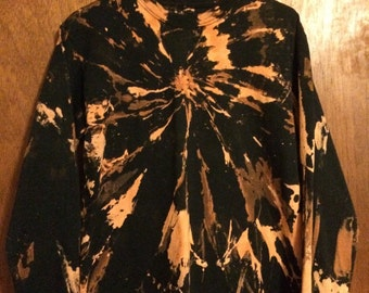 Kids 2X (18) long sleeve burst reverse tie dye black tee