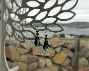 Abalone shell drop earrings  with sterling silver earwires