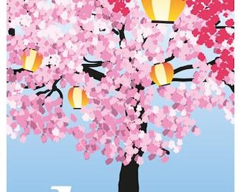 JAPAN. Hanami, traditional Japanese custom of enjoying the beauty of flowers. Travel Poster