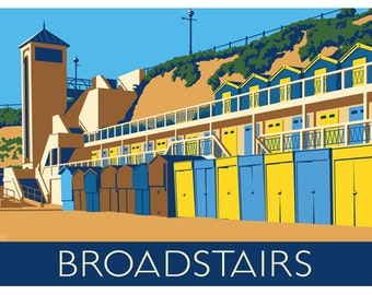 BROADSTAIRS HUTS. Art print travel poster of Broadstairs Beach Huts. A4, A3, A2