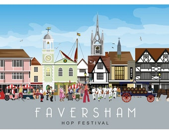 FAVERSHAM HOP FESTIVAL Landscape. Railway Style Poster of this annual event. A4, A3, A2