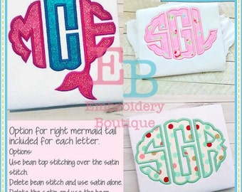 Mermaid Scallop Oval Alphabet - This design is to be used on an embroidery machine. Instant Download 5x7,9x9,6x10
