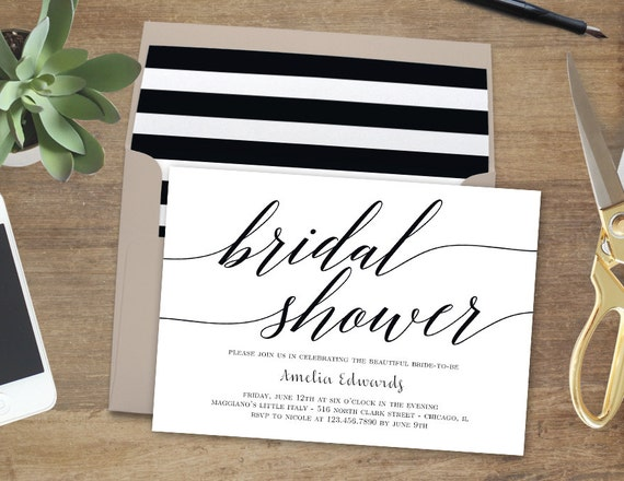 Printable Bridal Shower Invitation - MODERN SCRIPT - with Bonus Printable Envelope Liner