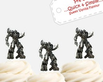 Megatron transformers EDIBLE cupcake cake toppers PRE-CUT stand up birthday