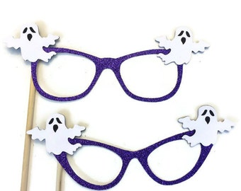 Halloween Photo Booth Prop - Ghost Glasses Prop- Photo Booth Prop with Glitter-Pick your Favorite Glasses Style and Glitter Color