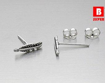 925 Sterling Silver Earrings Oxidized, Feather Stud Earrings, Stud Earrings (Code : K40A)