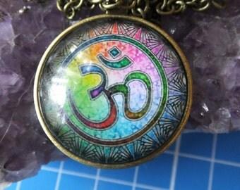 Vintage Bronze Coloured Ohm Mandala Necklace