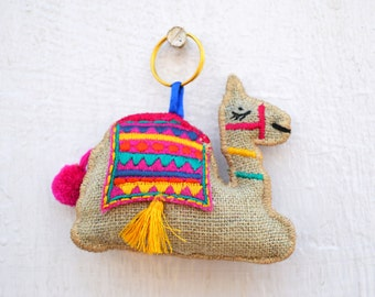 "Multicolor camel key ring, tassel, handmade, boho bag charm, bohemian, moroccan size 4"" or 10 cms"