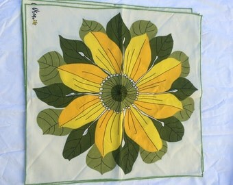 Vintage Vera Napkins, large flower,greens and yellows