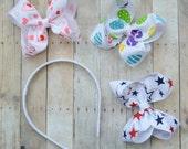 Girls holiday headband set, Holiday headbands, headband and bow set