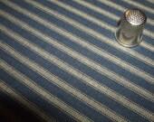 By The Half Yard! Navy Blue & Tea-Dyed Dark Ticking Dunroven House Homespun Fabric #H27