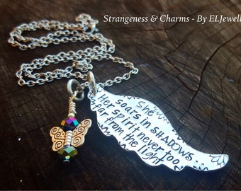 Hand Stamped High Poets Society Inspired 'She soars on Shadows' Large Angel Wing Necklace, Poetry Jewellery,Stamped Metal,Wings,Angel Wing
