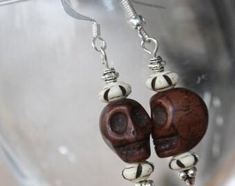 Decorative Skull Earrings, Skull Earrings, Carved Skull Earrings, Day of the Dead Earrings, Dia De Los Muertos Jewelry, Halloween Jewelry