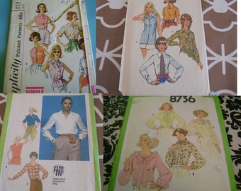 Sz 10 or 12 U Pick Sewing Patterns Vintage Blouses Tops
