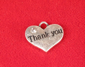 """5pc """"Thank you"""" charms in antique silver style (BC1000)"""