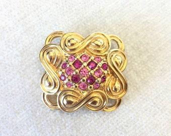 SALE Repousse Pink Swarovski Brooch