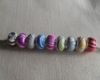 beads, large hole beads, big hole beads, charm beads, charm bracelet, resin beads, swirl beads, euro beads, European beads, LHB04