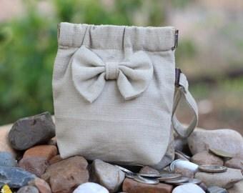 Flex frame purse with bow