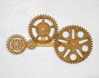 Gear Wall Decor mechanical wall art. kinetic wall art decor. wooden gears wall