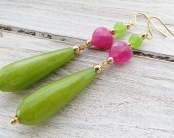 Green jade earrings, lime earrings, long drop earrings, hot pink jade earrings, dangle earrings, stone earrings, gemstone jewelry, gioielli