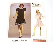 On Sale Vogue 2066, Albert Nipon, Couture Pattern, American Designer, Flapper Style Dress, 1988, Uncut, Rare Pattern, Factory Fold , Size 12