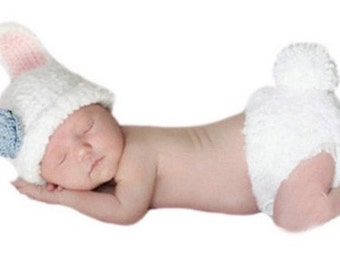 Newborn knit costume bunny- newborn photo outfit - baby outfit