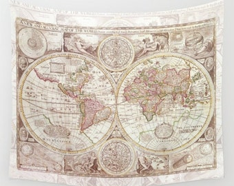 World Map Tapestry Wall hanging - dorm room decor, antique map print, beautiful map, travel decor, wall decor atlas, den, bedroom, library