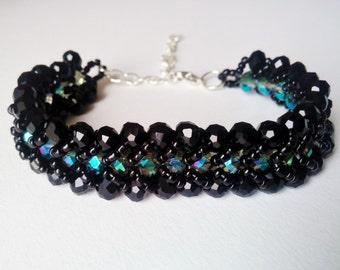 Black / Turquoise Flat Spiral Beaded Bracelet