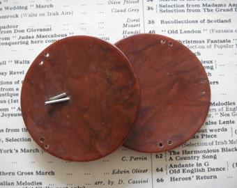 Two Vintage Belt Buckle - Medium Belt Buckle in Brown - 7.5cm across