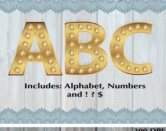gold marquee digital alphabet gold digital numbers gold letters gold font clipart marquee letters marquee numbers instant download