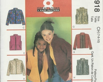 McCall's  2918       Children's and Girls Jacket, or Vest      Uncut   7,8,10