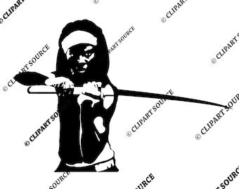 Clip Art; The Walking Dead Clipart; Michonne Silhouette File; Scrapbooking File