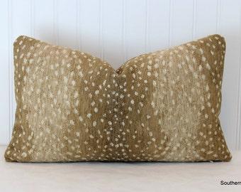 One or Both Sides -  Antelope Khaki Velvet Chenille Pillow Cover with Knife Edge