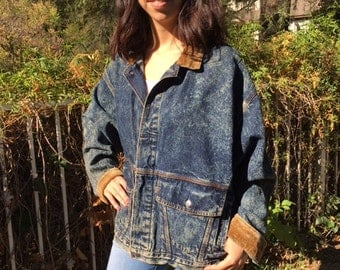 Levi's denim jacket, large, Jean jacket, corduroy collar cuffs