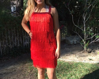 Red flapper dress, costume dress, red, Fringed,sequin, medium