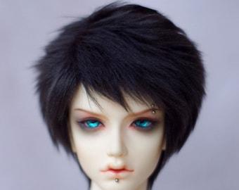 very short black BJD doll fur wig SD MSD yosd