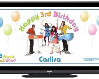Personalized The Fresh Beat Band Digital Birthday Party Sign Banner Image for Flat Panel Big Screen TV - FREE SHIPPING