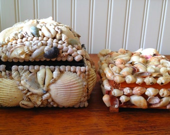 Two Shell Encrusted Trinket Boxes