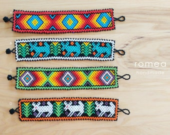 LARGE - Huichol Beaded Bracelets - Jewelry - Huichol art - Romea Accessories - Handmade -Chaquiras - Deer - Geometric
