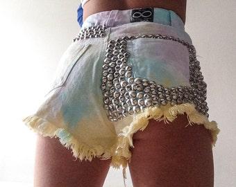 Rainbow tie dye silver studded shorts