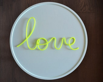 Wire word covered with fluorescent pvc