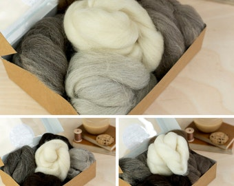 Needle Felting Wool Bundle Special Offer - 3 British Breeds Wool Bundles - mixed natural wool - undyed wool